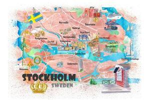 Stockholm Sweden Illustrated Map with Main Roads Landmarks and Highlights by M. Bleichner
