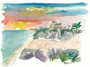 Tulum Mexico Sunset with Maya Ruins And Sea by M. Bleichner