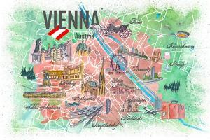 Vienna Austria Illustrated Map with Roads Landmarks and Highlights by M. Bleichner