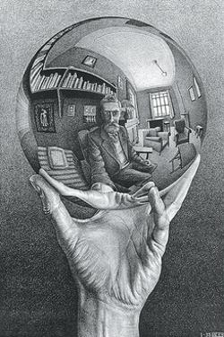 Hand with Reflecting Sphere by M. C. Escher