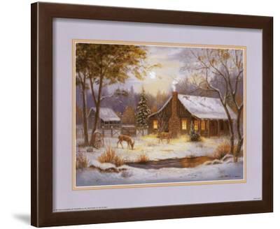 Log Cabin with Deer by M. Caroselli
