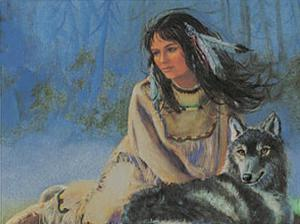 Maiden with Wolf by M. Caroselli