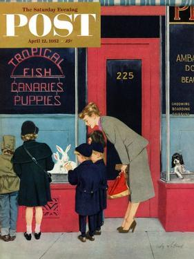 """""""Bunnies for Sale"""" Saturday Evening Post Cover, April 12, 1952 by M. Coburn Whitmore"""