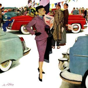 """""""Woman in Showroom"""", January 5, 1952 by M. Coburn Whitmore"""
