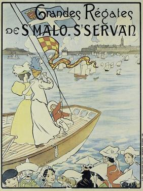 Poster Promoting the St. Malo and St. Servan Regatta, C.1895 by M.E. Renault