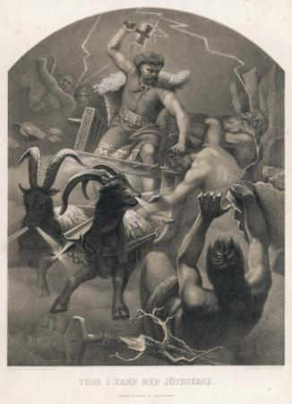The God Thor Fights the Giants