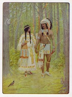 Hiawatha with His Bride Minnehaha Walking Hand in Hand by M. L. Kirk