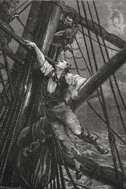 Passepartout Climbing the Mast Of a Ship. Illustration To the Novel by M.M. De Neuville