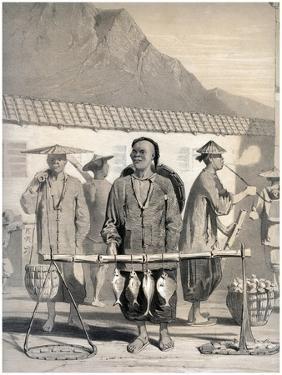 Fishmongers, Victoria Street, Hong Kong, China, 19th Century by M & N Hanhart