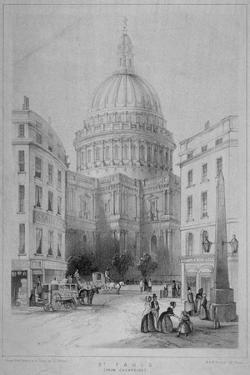 North-East View of St Paul's Cathedral, City of London, 1854 by M & N Hanhart