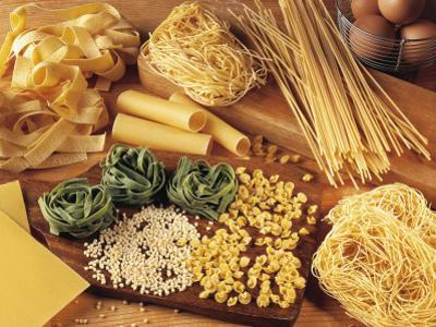 High Angle View of Assorted Pasta and Ingredients