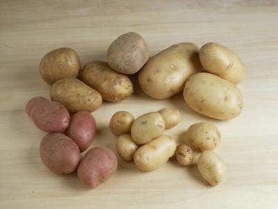 High Angle View of Raw Potatoes