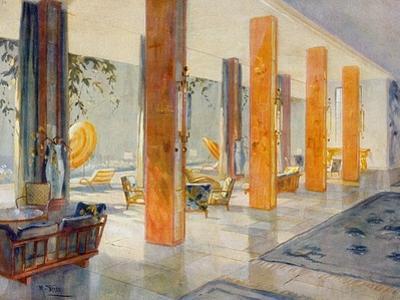 Garden Hall of a Hotel, 1929 (Colour Litho)