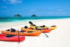 Kayaks on Lanikai Beach by M Swiet Productions