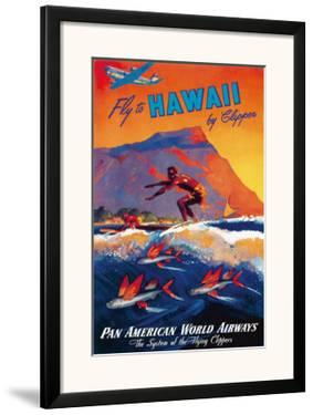 Fly To Hawaii by Clipper, Pan American World Airways c.1940s by M. Von Arenburg