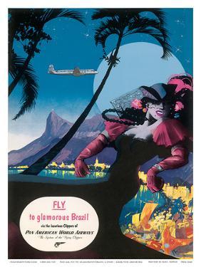 Pan Am, Fly to Glamorous Brazil c.1940s by M^ Von Arenburg