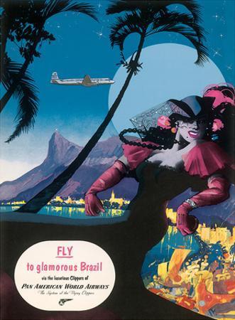 Pan Am, Fly to Glamorous Brazil c.1940s by M. Von Arenburg