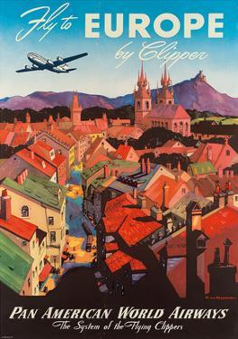 Pan American: Fly to Europe by Clipper, c.1940s by M. Von Arenburg