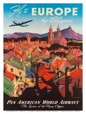 Pan American: Fly to Europe by Clipper, c.1940s by M^ Von Arenburg
