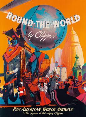 Pan American: Round the World by Clipper, c.1949 by M. Von Arenburg
