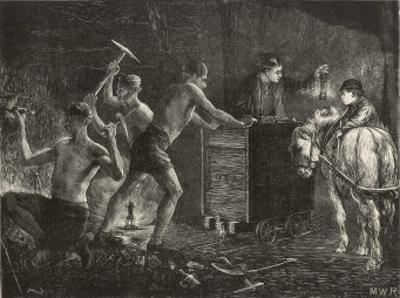 Pitmen Hewing the Coal South Durham: a Pit Pony Waits to Haul the Coal Away