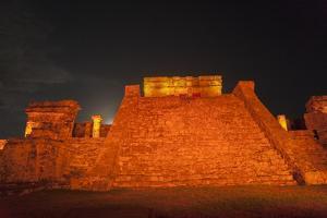 A Light Show Illuminates El Castillo in Tulum, on a Cliff Above the Caribbean Sea by Macduff Everton