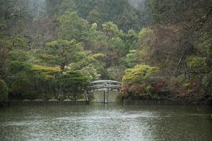 A Traditional Wooden Footbridge in a Rainstorm at Ryoanji Temple by Macduff Everton