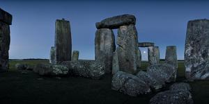 A View from the Center Section of Stonehenge with the Moon Seen Through One of the Arches by Macduff Everton