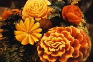 Fruit Carved into Floral Garnishes by Macduff Everton