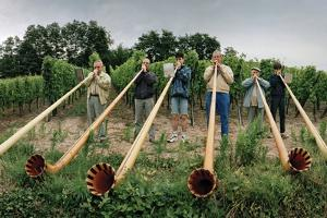 Men from Surrounding Villages Practicing on their Alpenhorns Along a Vineyard Road by Macduff Everton