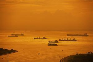 Ships in Singapore Harbor by Macduff Everton