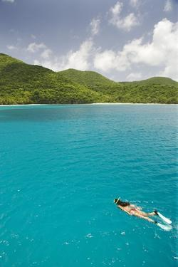 Woman Snorkeling in Hawksnest Bay at St. John Island by Macduff Everton