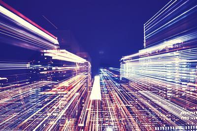 New York City Blurred Night Skyline