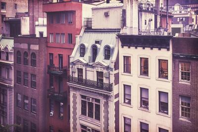 New York City Old Residential Buildings, Vintage Colors