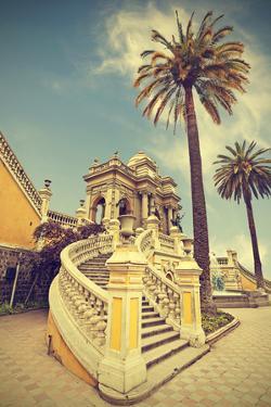 Santiago De Chile, Old Building with Palms on the Blue Sky, Vintage Retro Style. by Maciej Bledowski