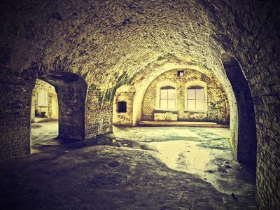 Vintage Picture of Dungeon, Cellar in Retro Style.