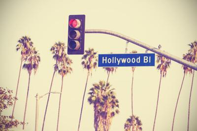 Vintage Retro Toned Hollywood Boulevard Sign, Los Angeles. by Maciej Bledowski