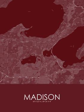 Madison, United States of America Red Map