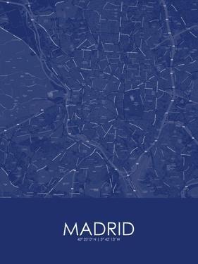 Madrid, Spain Blue Map