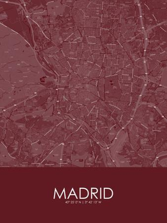 Madrid, Spain Red Map