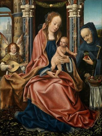 The Holy Family with an Angel Musician, 1510-1520 by Maestro De Francfort