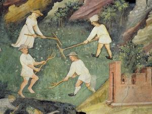 Haymaking in the Month of June, Detail (Fresco) by Maestro Venceslao
