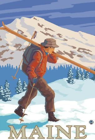 Maine - Skier Carrying Skis