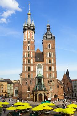 View at St. Mary's Gothic Church, Famous Landmark in Krakow, Poland. by majeczka-majeczka
