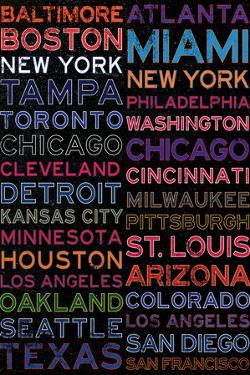 Major League Baseball Cities Colorful