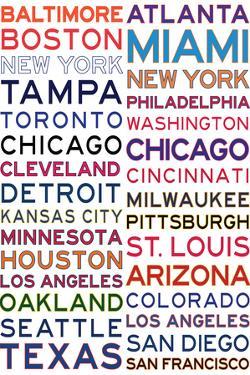 Major League Baseball Cities on White