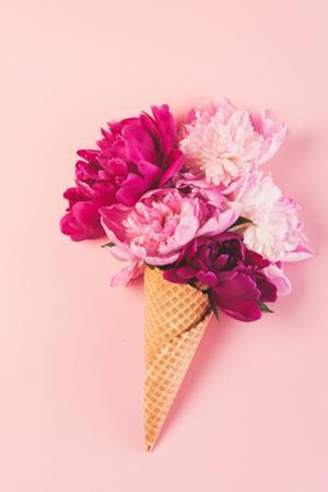 Peony Flowers in the Waffle Cone by Maksim Shebeko