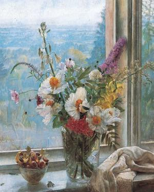 Still Life with Flowers and Chestnuts by Malcolm Milne
