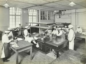 Male Cookery Students at Work in the Kitchen, Westminster Technical Institute, London, 1910