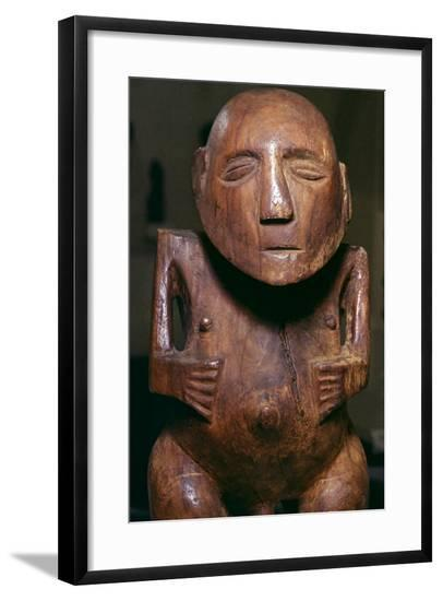 Male figure (ti'i) made of thespesia wood from the Society Islands in Tahiti, 19th Century-Unknown-Framed Giclee Print